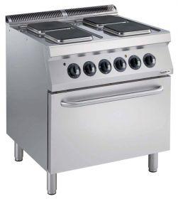 Elektrisch Fornuis Pro 700 El. 4 Pl. Met Oven Combisteel 7488.0090