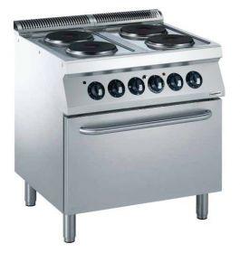 Elektrisch Fornuis Pro 700 El. 4 Pl. Met Oven Combisteel 7488.0095