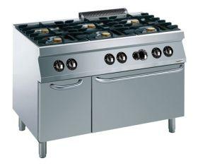 Gasfornuis Pro 700 Gas Fornuis 6 Br. Met Oven Combisteel 7488.0030