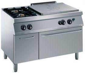 Gasfornuis Pro 700 Kookplaatfornuis 2 Br. Gas Oven Combisteel 7488.0065