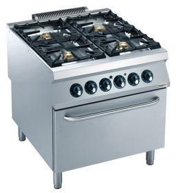 Gasfornuis Pro 900 Gas Fornuis 4 Br. Met El. Oven Combisteel 7488.0540