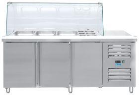 Gekoelde werkbank Koeltafel met glazen top Model GN 3100 TNS Saro 323-10715