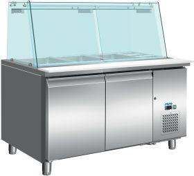 Gekoelde werkbank Koeltafel met glazen top Model SG 3070 Saro 323-3250