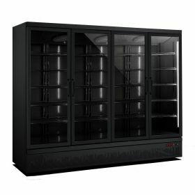 Koelkast 4 Glasdeuren Zwart **Heftruck** Combisteel 7455.2240