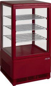 Mini-koelvitrine 70 liter met verlichtingmodel SC 70 rood Saro 330-10031