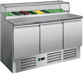 Voorbereidingstafel / Pizzatafel Pizzatafel met glazen top PS 300G Saro 323-1106