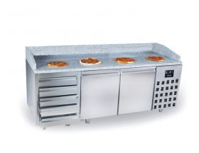 Voorbereidingstafel / Pizzatafel Pizzawerkbank 2 Deuren 5 Laden Combisteel 7489.5235