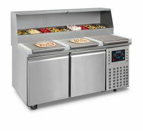 Voorbereidingstafel / Pizzatafel Pizzawerkbank 2 Deuren Combisteel 7489.5300