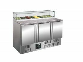 Voorbereidingstafel / Pizzatafel Pizzawerkbank Met Glasvitrine Model Ps 300 G Saro 323-1106